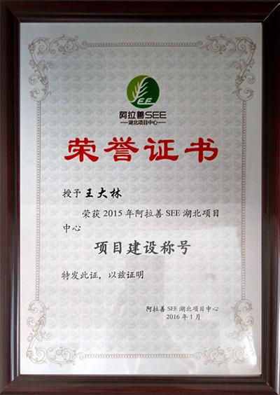 阿拉善荣誉证书