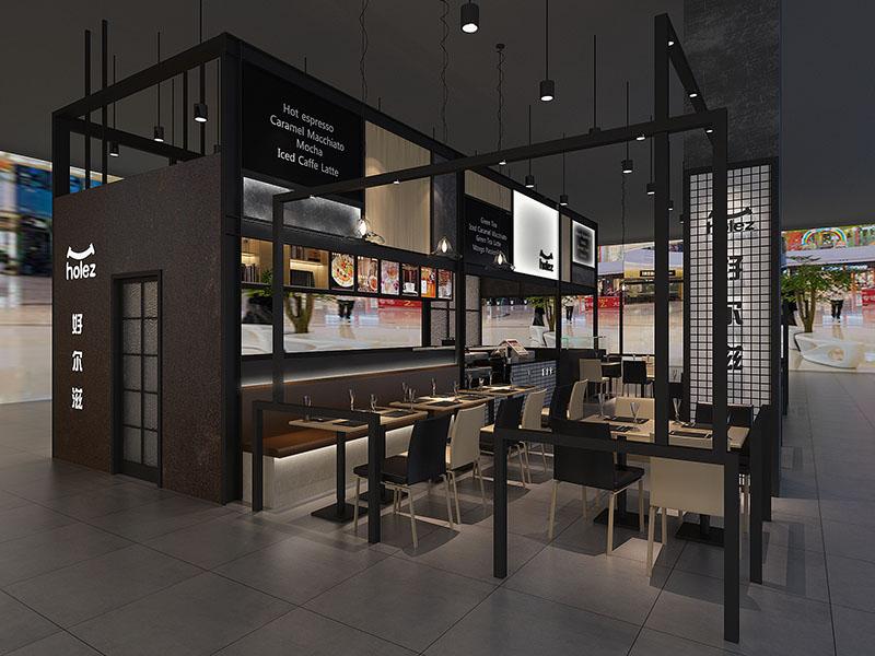 70平的好尔滋西式快餐厅设计,内景